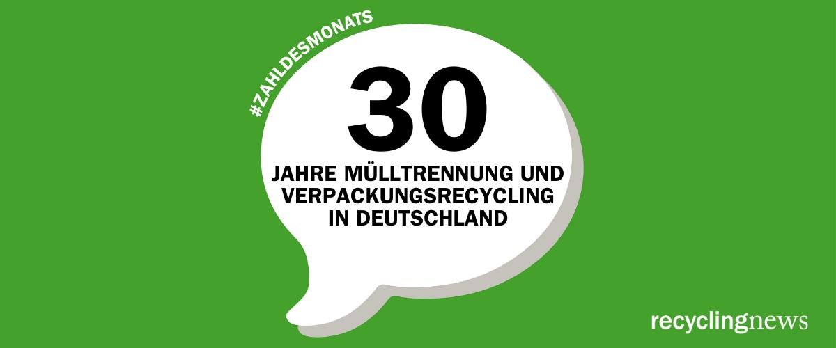 Zahl des Monats Juni – 30 Jahre Mülltrennung und Verpackungsrecycling in Deutschland