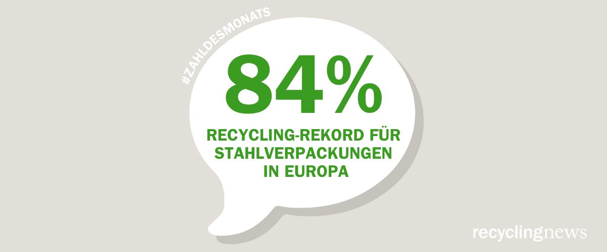 Zahl des Monats Juli 2021 – 84 Prozent – Recycling-Rekord für Stahlverpackungen in Europa
